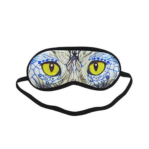 ATEM113 Blue Cat Graphic Art Eye Printed Sleeping Mask