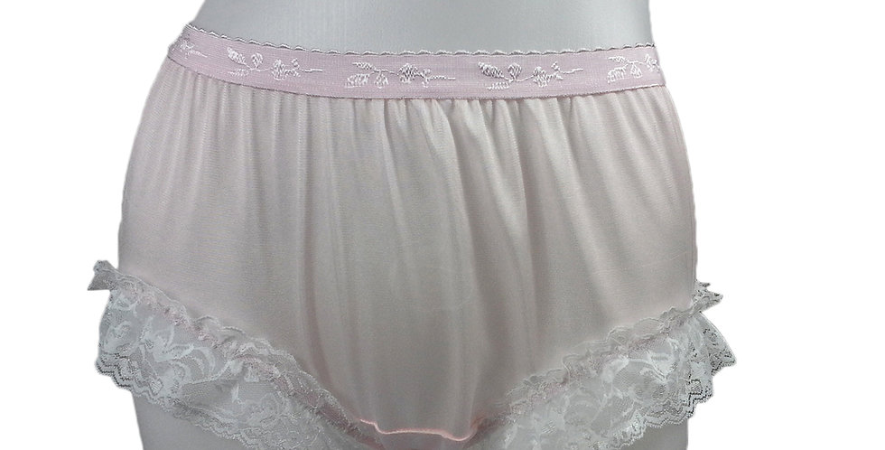 CKH01D01 Pink Silky New Nylon Panties Handmade Lace Floral Women Knickers Briefs