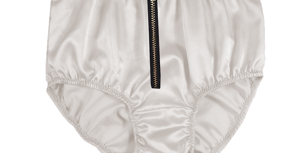 STPH03I12 White Zipper New Satin Panties Women Men Briefs Knickers