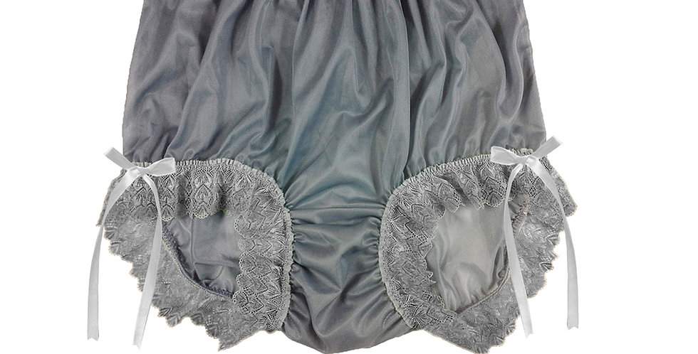 NNH17D04 Grey Gray Handmade Panties Lace Women Men Briefs Nylon Knickers