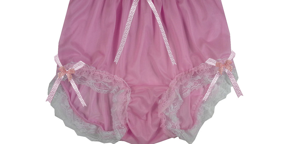 NNH22D55 Pink Handmade Panties Lace Women Men Briefs Nylon Knickers