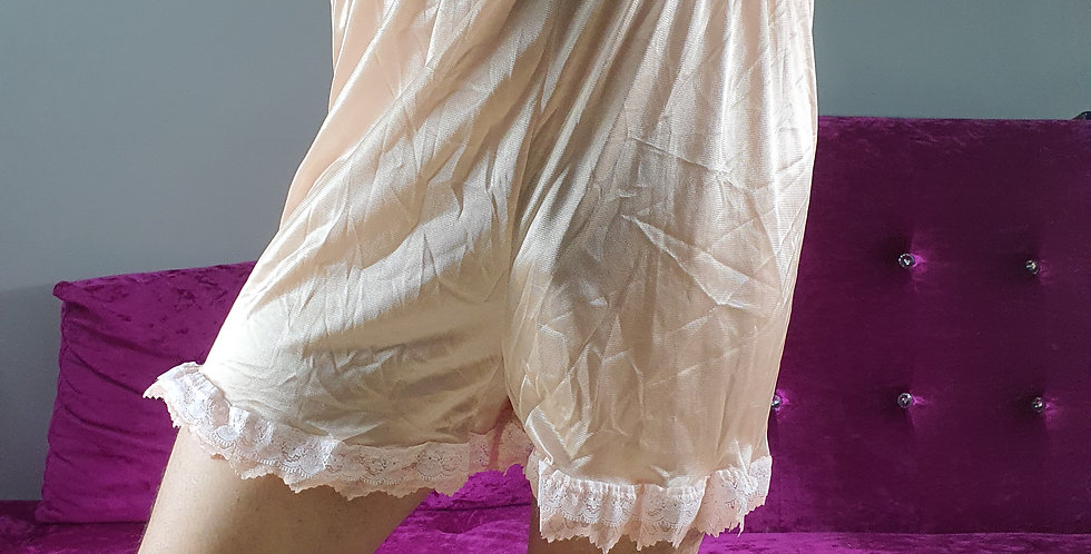 New Brown Pettipants Shorts Men Underwear Handmade Nylon Half Slip Lacy NSLSH05