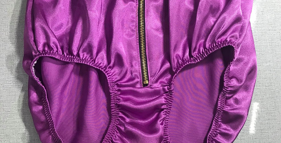 Fair Purple Satin Sissy Men Knickers Briefs Iron Zipper Handmade Panties RTST01