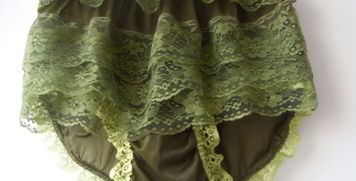 New Green Nylon Underwear Panties Briefs Handmade Men Ruffle Frilly Lacy NVOD55