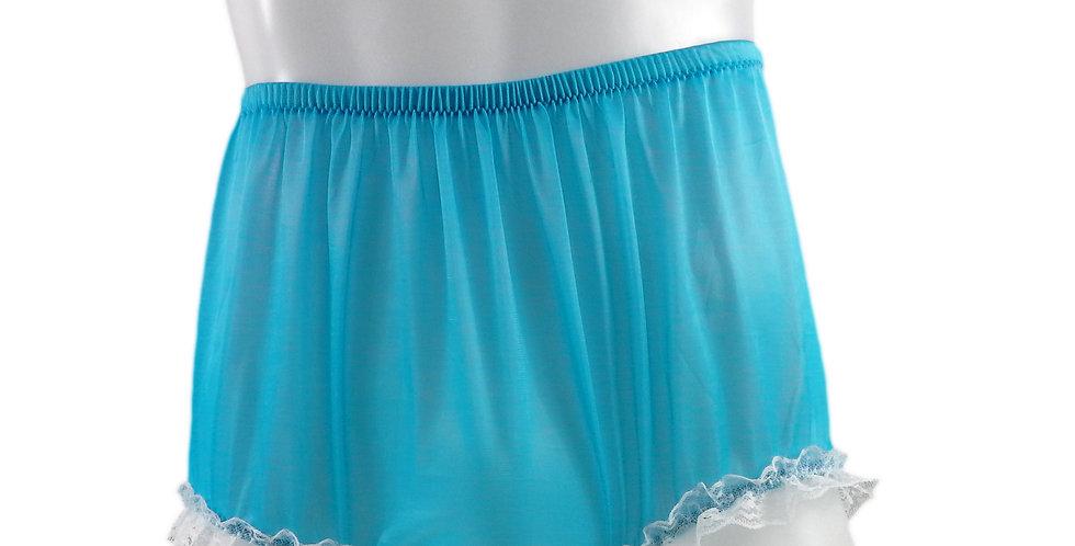 NH02D12 Light Blue Handmade Panties Lace Women Men Briefs Nylon Knickers Und