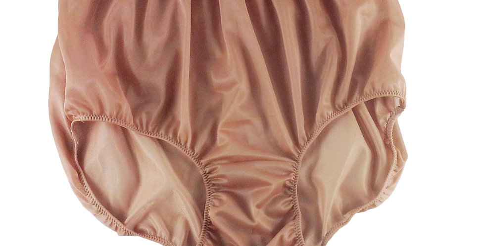 NN12 Fair Brown Women Vintage Panties Granny HI-CUTS Briefs Nylon Knickers