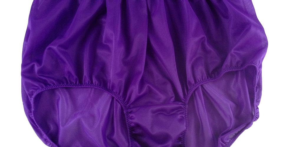 NN04 Light Purple Women Vintage Panties Granny HI-CUTS Briefs Nylon Knickers