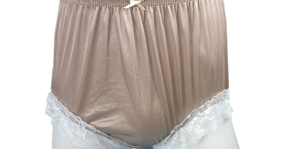 NQH01D07 Brown Panties Granny Briefs Nylon Handmade Lace Men Woman