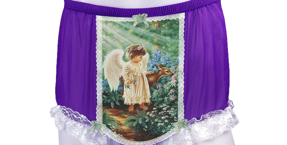 NNH25D11 Light Purple Handmade Panties Lace Women Men Briefs Nylon Knickers