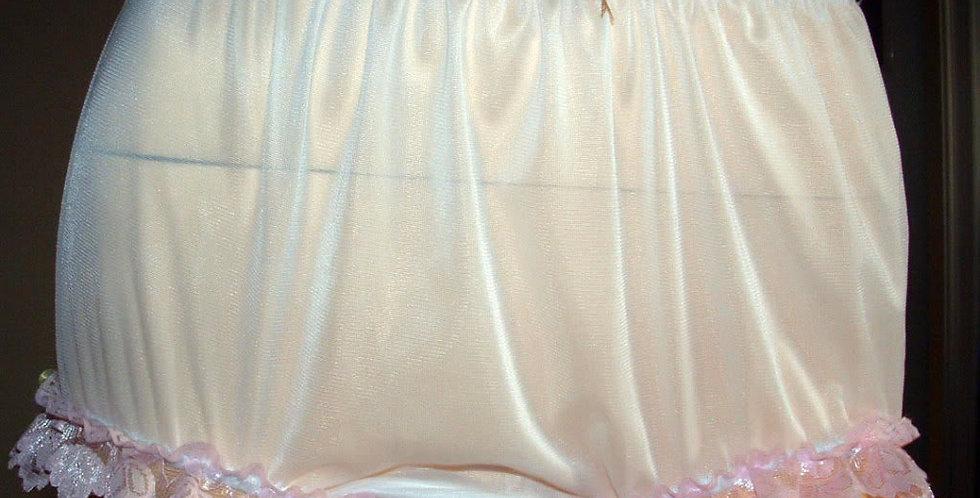 New White HI-CUTS PlusSize Panties Nylon Brief Handmade Lacy Ribbon NVOD99