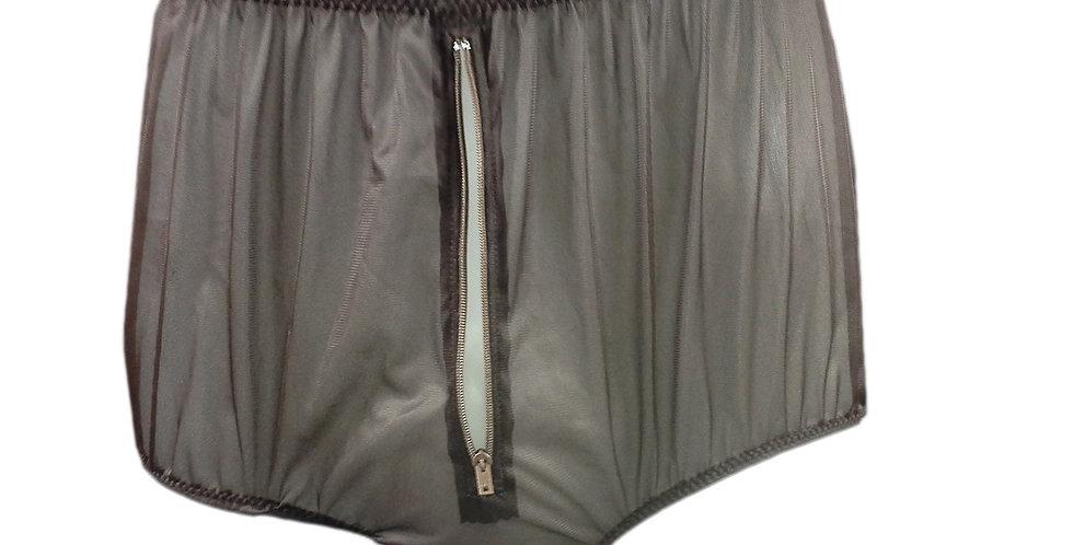 NNH03P10 tan brown Handmade Panties Lace Women Men Briefs Nylon Knickers