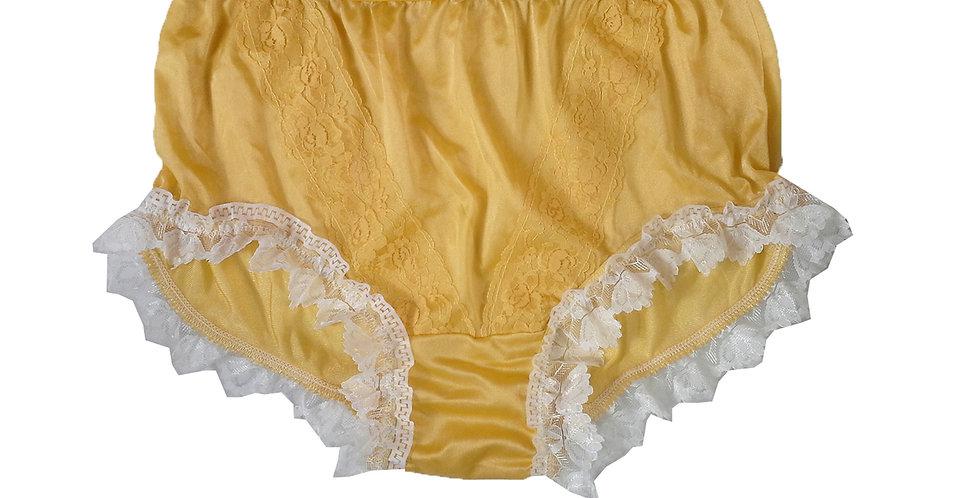 NLH24D15 Yellow New Panties Granny Lace Briefs Nylon Handmade  Men