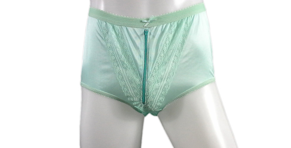 NLH03B01 fair green Panties Granny Lace Briefs Nylon Handmade  Men Woman