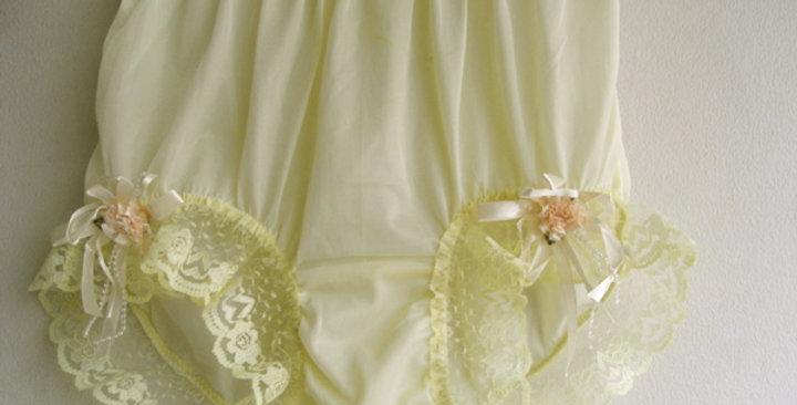 Fair Yellow Full Cut Pinup Panties Nylon Brief Handmade Men Ribbon Lacy NQVOD36