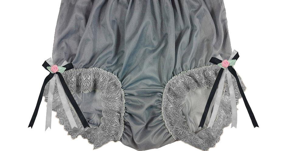NNH17D06 Grey Gray Handmade Panties Lace Women Men Briefs Nylon Knickers