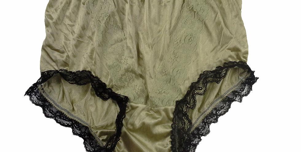 NLH08D07  Olive Green Panties Granny Lace Briefs Nylon Handmade  Men Woman