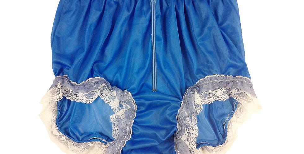 Sexy Men Knickers Open Front Zipper Panties Briefs Blue Sheer Nylon Panty
