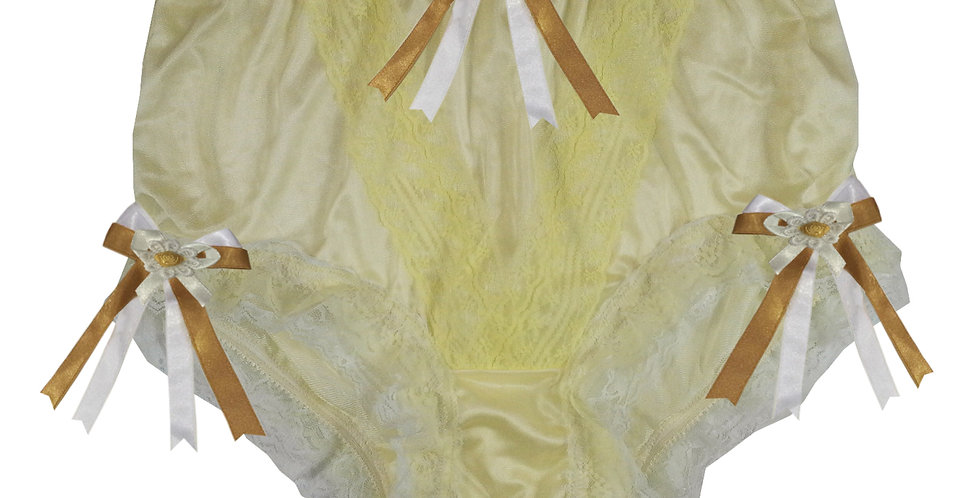 NLH22D06 Yellow New Panties Granny Lace Briefs Nylon Handmade  Men