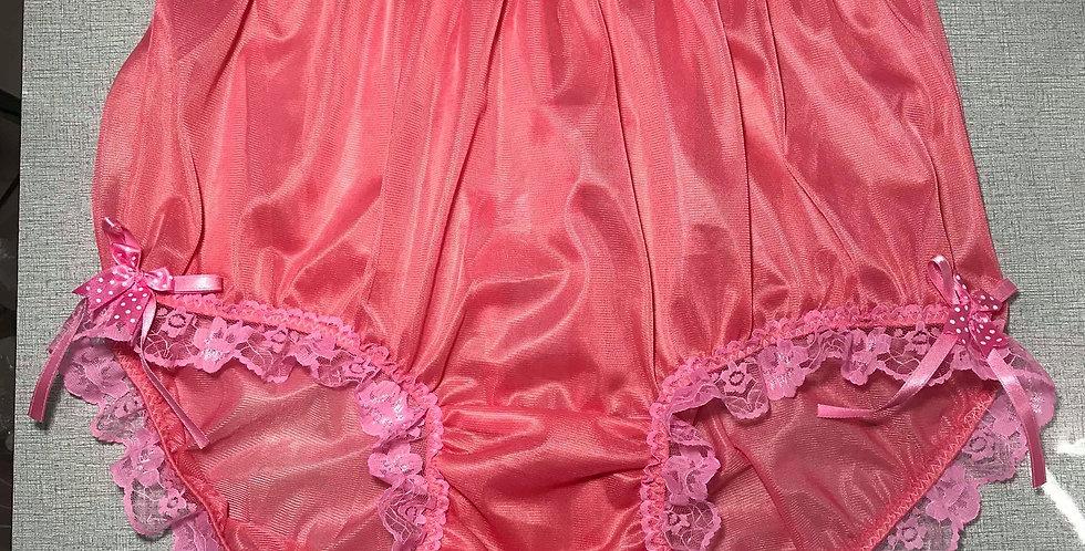 New Light pink Nylon Brief & High Cut Panties Men Handmade Ribbon Lacy NH17DS02