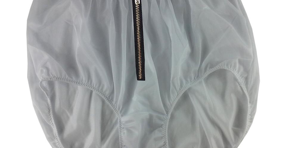 NNH03I16 White Zipper Handmade Panties Lace Women Men Briefs Nylon Knickers