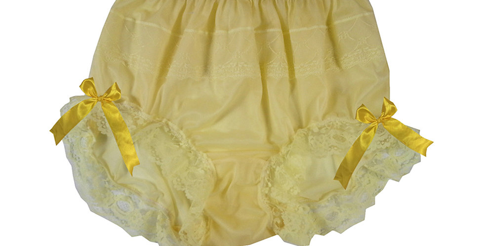 JYH17D05 Yellow Handmade Nylon Panties Women Men Lace Knickers Briefs