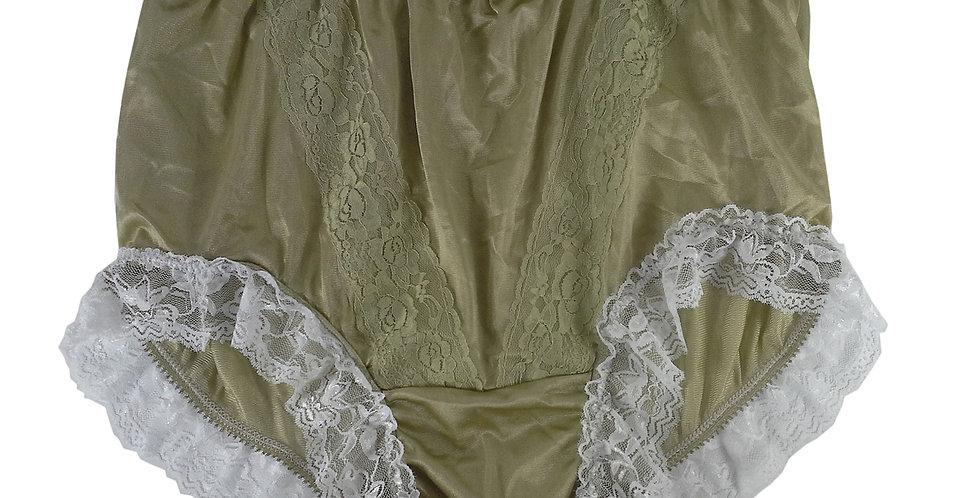 KJH01D02 Olive Green Panties Lace Briefs Nylon Handmade Woman