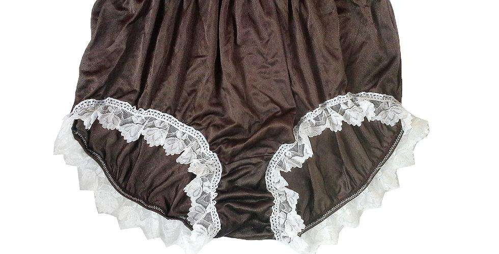 NQH24D10 Tan Brown New Panties Granny Briefs Nylon Handmade Lace Men