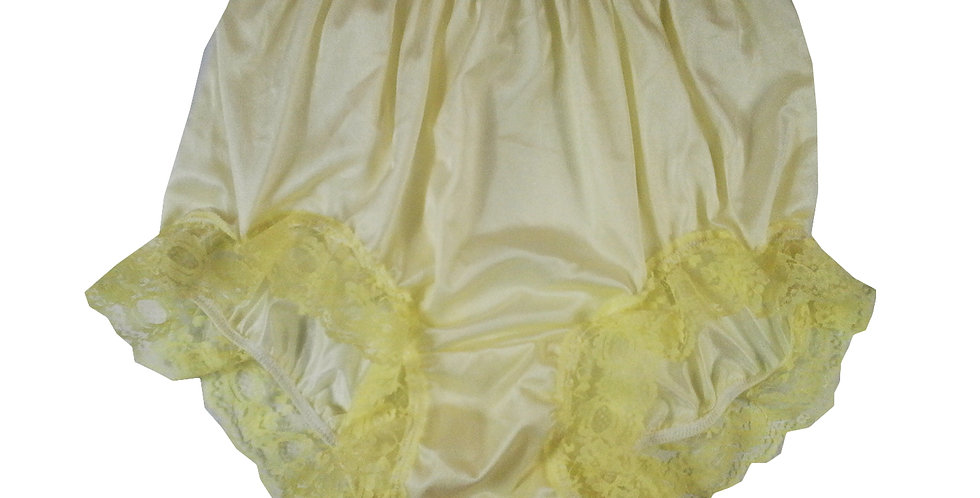 NQH04D02 yellow Panties Granny Briefs Nylon Handmade Lace Men Woman
