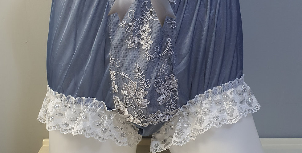 Gray Sissy Nylon Briefs Men Panel Ribbon Lace Panties Handmade Knickers NPN02