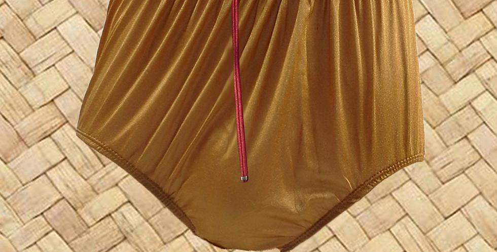 NQH03D09 Yellow Gold Zippe New Panties Granny Briefs Nylon Handmade Lace Men