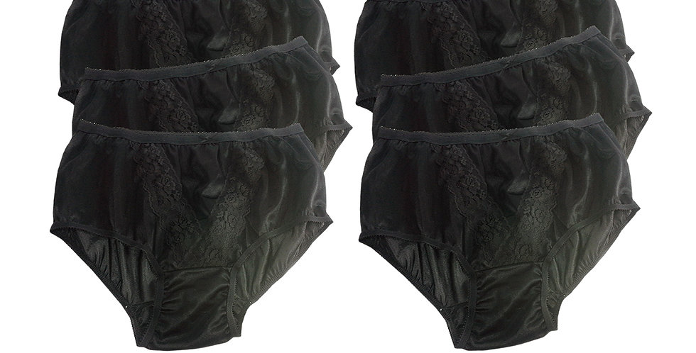 KJS BLACK Lots 6 pcs Wholesale New Panties Granny Briefs Nylon Men Women