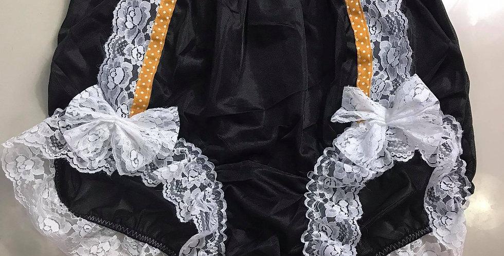 Gorgeous vintage Sissy Black Briefs Nylon Strip Lacy Panties Men Handmade RTN37