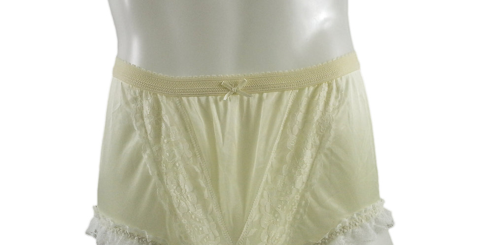 NLH02D15 Yellow Panties Granny Lace Briefs Nylon Handmade  Men Woman