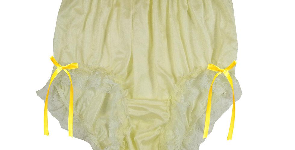 NQH21D04 Yellow New Panties Granny Briefs Nylon Handmade Lace Men