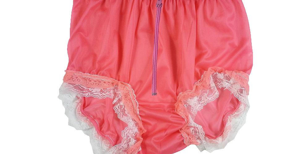 NNH23DP19Light Pink Zipper Handmade Panties Lace Women Men Briefs Nylon Knickers