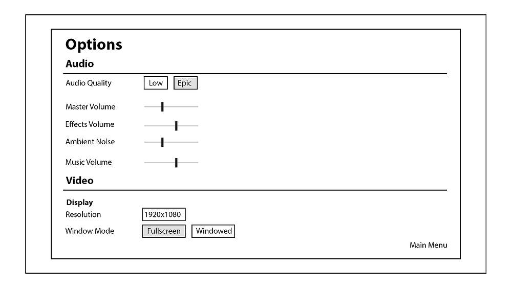 Options Wireframe