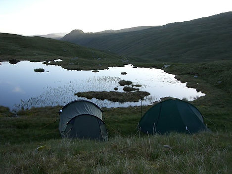 Early morning, before sunrise, on a wild camping expedition in the Lake District