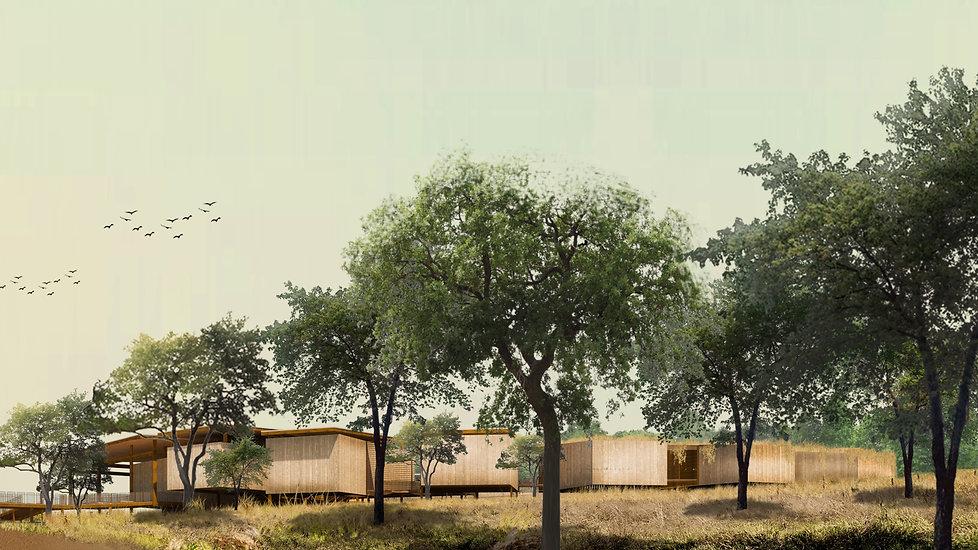 Fachada do museu constuido com estrutura metálica e madeira na Serra do Lajeado integrado com a natureza
