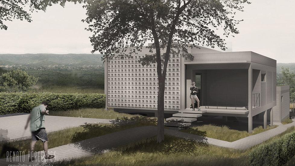 Fachada de casa com tijolo de concreto aparente e ventilada com vista para a Serra do Lajeado