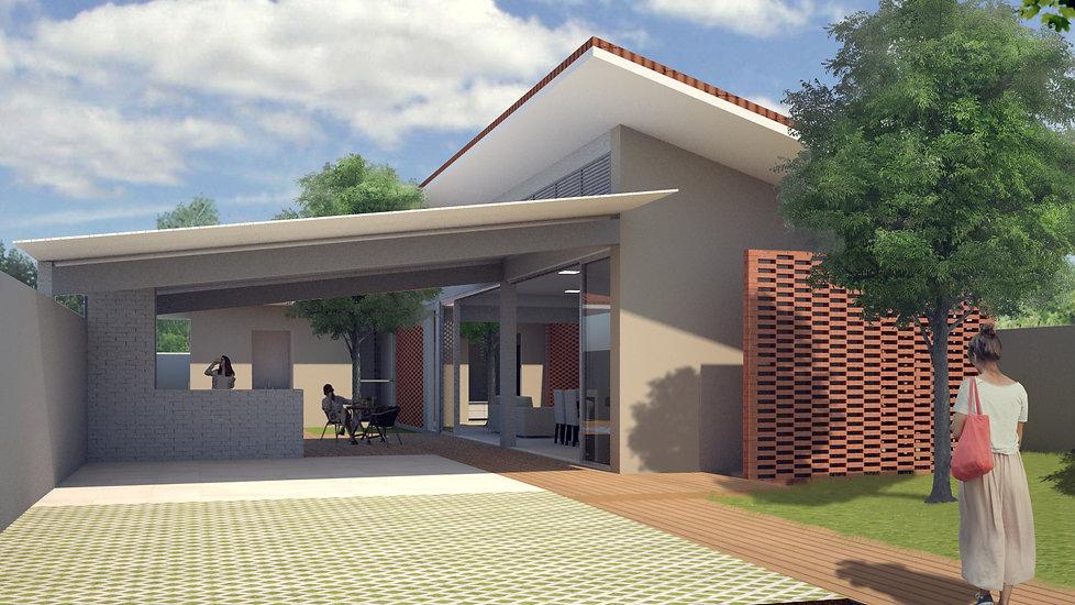 Fachada de casa com baixo custo, adaptada ao clima e ventilação e confortável.