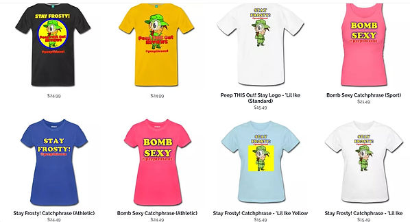 Samples of various items from the Peep THIS Out Reviews Spreadshirt Shop (Availability may vary)
