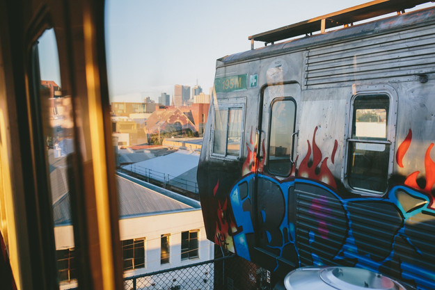 View from inside of train at Easey's overlooking the city of Melbourne