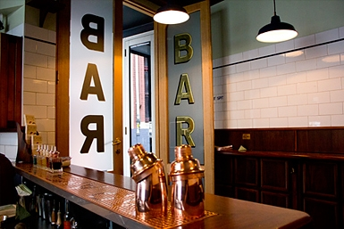 Inside of Bar Americano, old age European style.