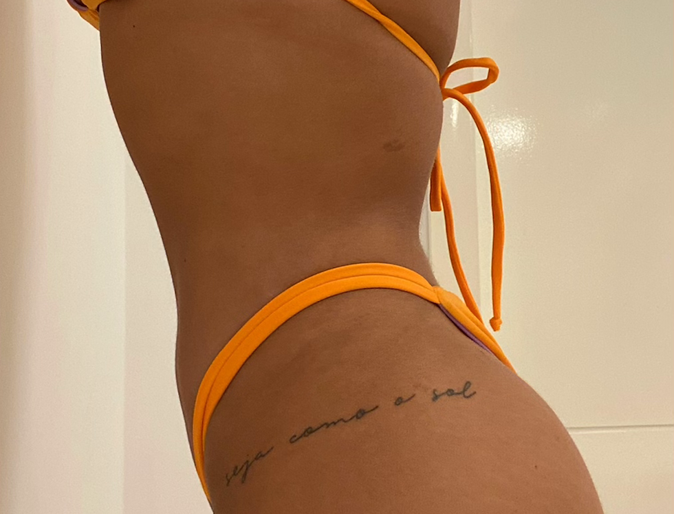 Bottom Tiras Eclipse Dupla Face Tangerina com Lilás