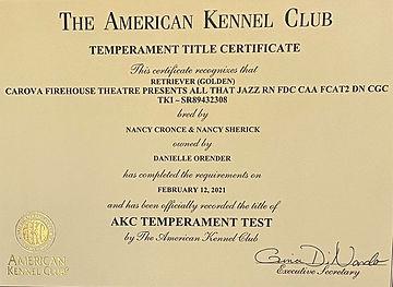 Jazzy - AKC Temperament Test certificate