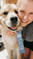 Moose earning his Canine Good Citizen ribbon