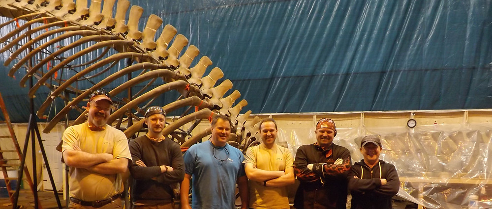 The Skeleton Crew in front of the Blue Whale