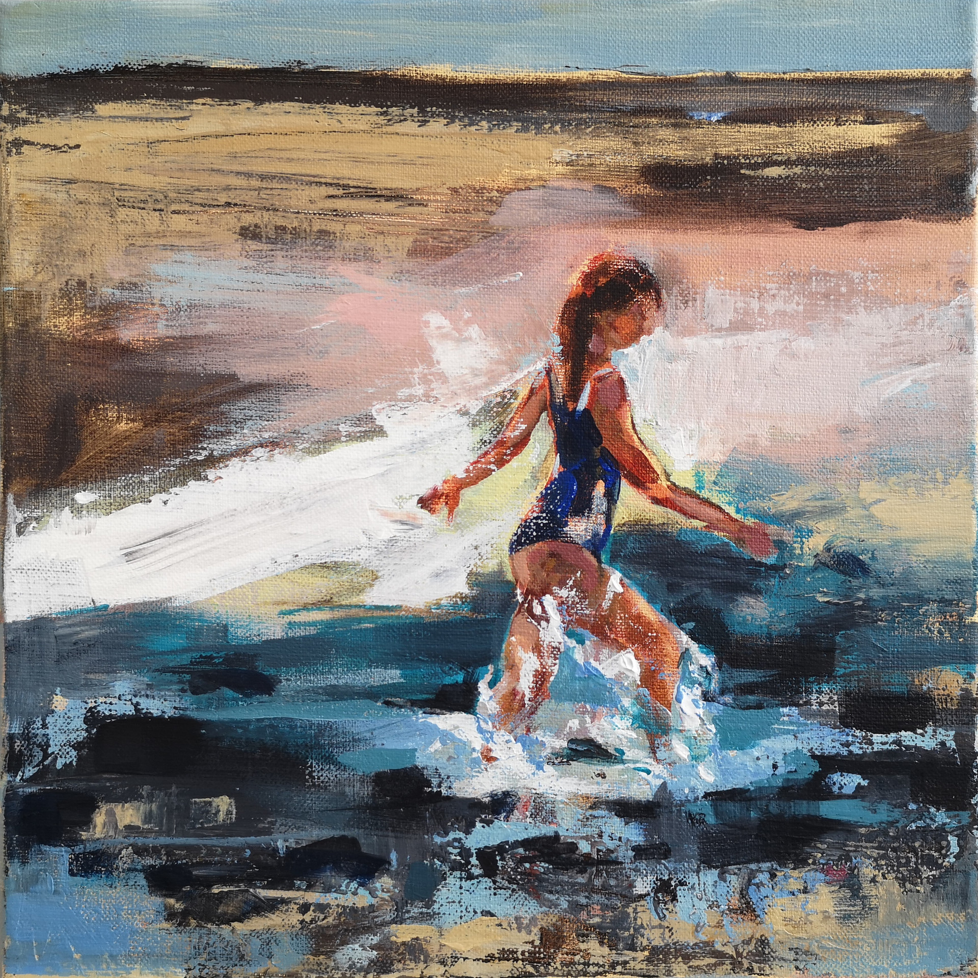Girl walking through the sea