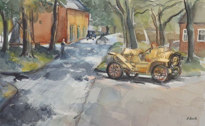 Painting in situ at Bicester heritage of the Overland 1910 i