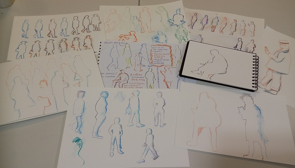 Some amazing results were acheved in the Colour and Line workshop! this is just some of the work created by students using my hand out as a guide.
